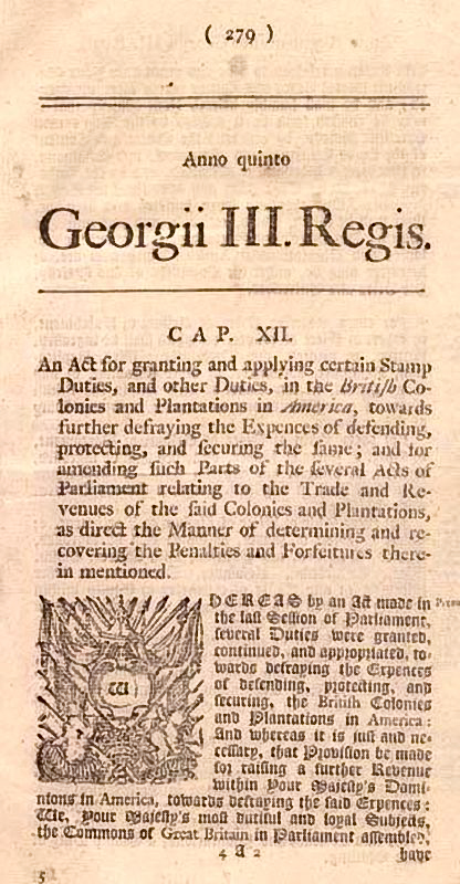 History of The Stamp Act