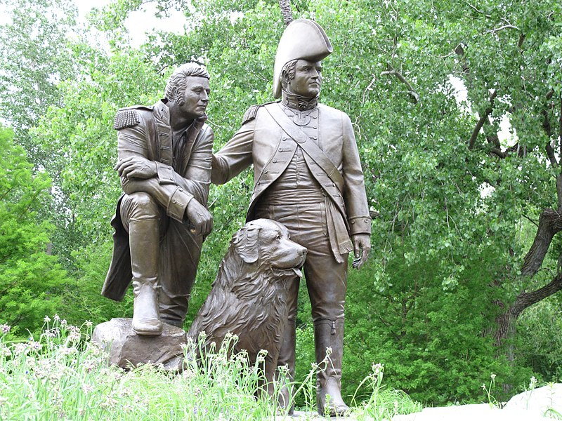 Lewis and Clark statue with Seaman dog