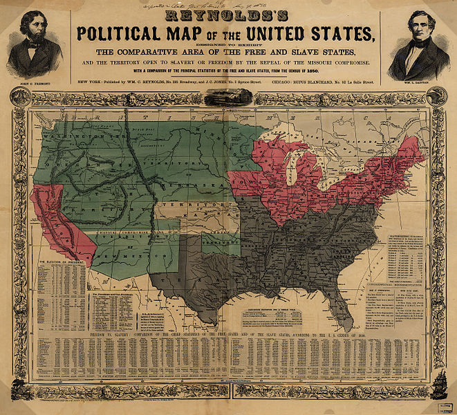 Political Map of the United States 1856